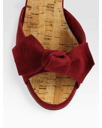 Manolo Blahnik - Red Suede and Cork Wedge Slide Bow Sandals - Lyst