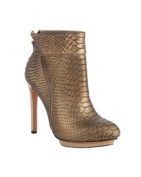 Badgley Mischka | Metallic Bronze Snake Embossed Leather Fido Ankle Booties | Lyst