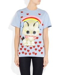 Meadham Kirchhoff | Blue Kitty Printed Cotton T-Shirt | Lyst