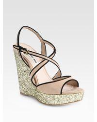 Miu Miu | Pink Glitter and Suede Slingback Wedge Sandals | Lyst