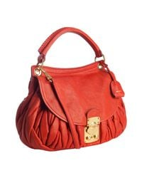 Miu Miu | Fire Red Quilted Leather Matelasse Shoulder Bag | Lyst