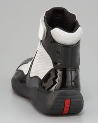 Prada - Gray Patent Leather Hi-Top Sneaker, Black/White - Lyst