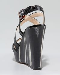 Prada | Black Patent Leather Wood Wedge Sandal | Lyst