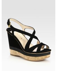 Prada | Black Suede Criss-cross Wedge Sandals | Lyst