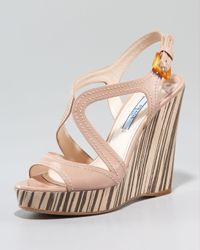 Prada | Pink Patent Leather and Wood Multistrap Wedge Sandals | Lyst