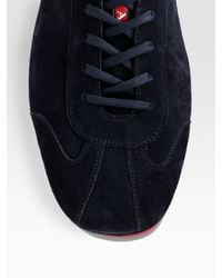 Prada - Black Suede Lace-up Sneakers for Men - Lyst