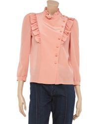 Sonia by Sonia Rykiel - Pink Ruffled Silk Blouse - Lyst