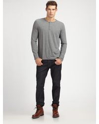 Vince | Blue Heathered Jersey Henley for Men | Lyst