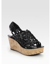 Tory Burch | Black Killian Cork Wedge Slingback Sandals | Lyst