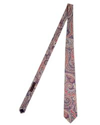 Etro | Pink Coral/blue Paisley Print Tie for Men | Lyst