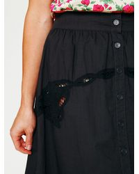 Free People | Black Battenburg Poplin Skirt | Lyst