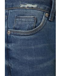 TOPSHOP | Moto Mid Blue Rip Mom Jeans | Lyst