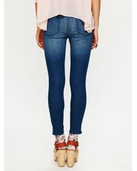 Free People - Blue 5 Pocket Ankle Crop with Zipper - Lyst