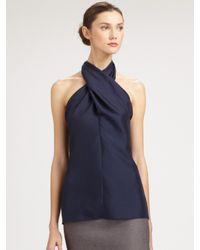 Saint Laurent - Blue Silk Cross-neck Halter Top - Lyst