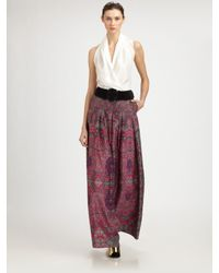 Saint Laurent | Purple Printed Silk-habotai Palazzo Pants | Lyst