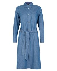 A.P.C. | Blue Long Sleeve Denim Shirt Dress | Lyst
