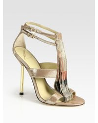 B Brian Atwood | Lenoire Metallic Leather Metal-fringe T-strap Sandals | Lyst