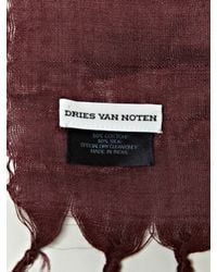 Dries Van Noten | Purple Mens Sheer Silk Artisan Scarf With Tassels for Men | Lyst