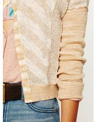 Free People | Natural Tonal Stripe Cardigan | Lyst