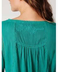 Free People | Green Victorian Inset Tunic | Lyst