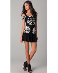 Hervé Léger - Black Graffiti A Line Dress - Lyst