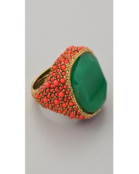 Kenneth Jay Lane - Green Coral & Jade Cocktail Ring - Lyst