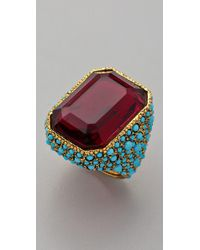 Kenneth Jay Lane - Blue Antiqued Cocktail Ring - Lyst