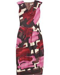 Lela Rose | Purple Wool-blend Brushstroke-print Dress | Lyst