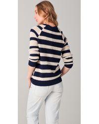 Madewell   Black Slub Striped Paneled Pullover   Lyst