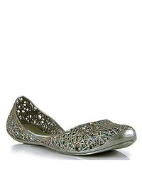 Melissa | Metallic Campana - Silver Mutli-colored Glitter Jelly Cutout Flat | Lyst