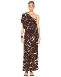 Michael Kors | Brown Exclusive One-shoulder Maxi Dress | Lyst