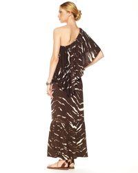 Michael Kors - Brown Exclusive One-shoulder Maxi Dress - Lyst