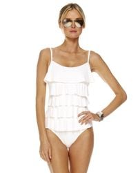 Michael Kors - White Cascading Ruffle Maillot Swimsuit With Bra - Lyst