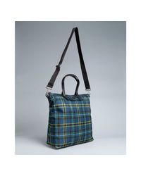 Prada - Blue Plaid Nylon Travel Tote for Men - Lyst