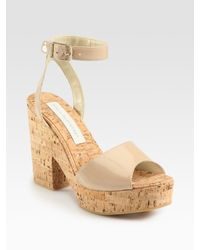 Stella McCartney | Natural Faux Patent Leather Cork Sandals | Lyst