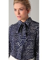 Tibi | Blue Blouse Polka Dot Tie Neck | Lyst