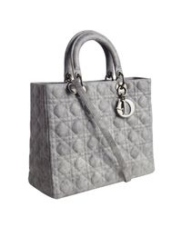 Dior | Gray Pearl Grey Cannage Leather Lady Structured Tote | Lyst