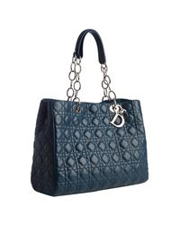 Dior   Blue Petrol Cannage Leather Soft Chain Strap Tote   Lyst