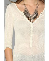 Free People - White The Lurex Pointelle Henley Top - Lyst