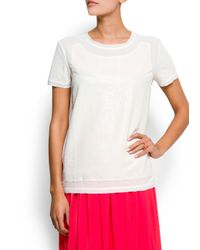 Mango - White Sequin T-shirt - Lyst