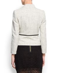 Mango - Natural Shiny Yarn Blazer - Lyst