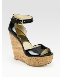 MICHAEL Michael Kors - Black Ariana Patent Leather Cork Wedge Sandals - Lyst