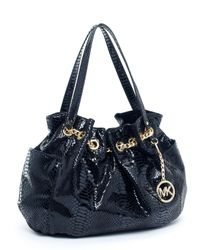 Michael Kors | Jet Set Chain Ring Tote, Patent Python-embossed Black | Lyst