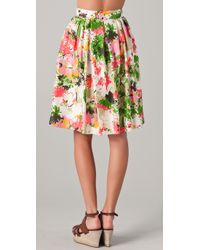 MILLY | Multicolor Bianca Pleated Skirt | Lyst