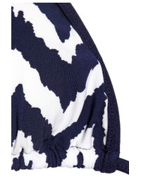 MILLY - Blue Biarritz Zigzag-print Triangle Bikini Top - Lyst