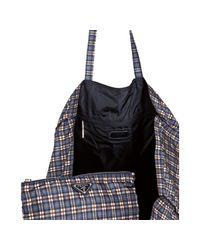 Prada - Blue Check Print Nylon Shopper Tote - Lyst