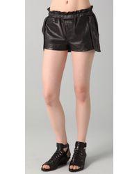 Rebecca Minkoff | Black Leather Shorts Mika | Lyst