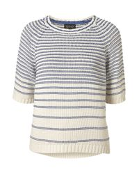 TOPSHOP | Natural Knitted Reverse Stripe Top | Lyst