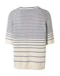 TOPSHOP | Blue Knitted Reverse Stripe Top | Lyst