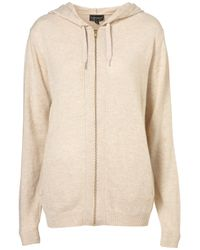 TOPSHOP | Natural Knitted Zip Up Hoody | Lyst
